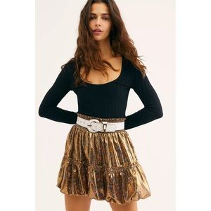 NWT Free People In a Bubble Satin Mini Skirt